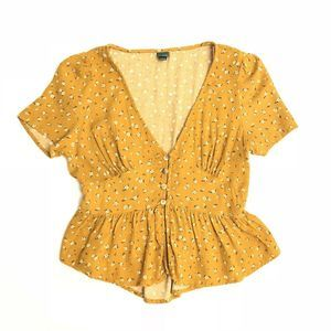 Wild Fable Mustard Floral Button Up Boho Crop Top